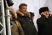Politicians Boris Nemtsov and Sergei Mitrokhin on the stage of opposition rally