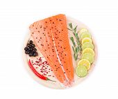 Salmon fillet with lime and rosemary.