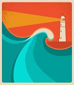 Lighthouse Card With Blue Sea.vector Poster Background