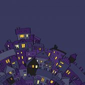 Panorama view old town at night with lighted windows in violet, vector illustration