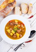 Hungarian goulash with beans and peppers