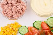 Salad with tuna and mayonnaise.