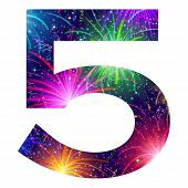 Number of colorful firework, five