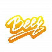 Vector Beer lettering Handmade Calligraphy sticker