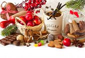 picture of christmas spices  - Christmas food ingredients and Christmas decorations on white - JPG
