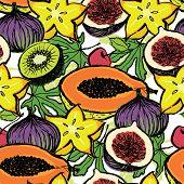 stock photo of papaya  - Fresh fruits background with carambola papaya and figs - JPG