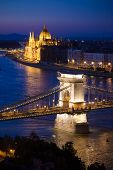 Budapest Cityscape Sunset With Chain Bridge In Front Over Danube River