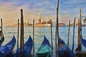 pic of impressionist  - Impressionist painting of Gondolas moored at Molo San Marco in Venice Italy with San Giorgio Maggiore in the background - JPG