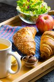 Breakfast In Bed On Wood Tray