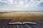 Footprints On Beach Summer Sunset Landscape Conceptual Book Image