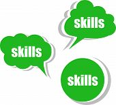 Skills Word On Modern Banner Design Template. Set Of Stickers, Labels, Tags, Clouds