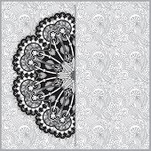 Circle grey lace ornament, round ornamental geometric doily patt