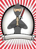 Cartoon Ninja Oval Banner Ad