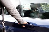Woman In Jacket Opening Car Door
