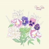 Background with peonies,  irises and pansies-01