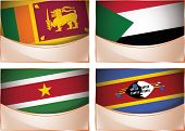 Flags illustration, Sri Lanka, Sudan, Suriname, Swaziland