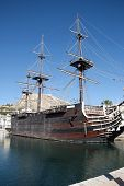 stock photo of galleon  - Old galleon ship in the Alicante harbour in spain - JPG