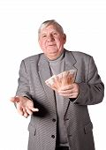 Elderly Man With Money In Hands