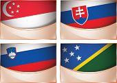 Flags illustration, Singapore, Slovakia, Slovenia, Solomon I