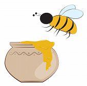 Bee And Honey Pot
