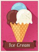 Ice cream retro poster background design in flat style.