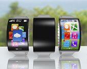 Group Of Ultra-thin Curved Screen Smartwatch With Metal Watchband