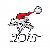 greeting card of new year with a goat