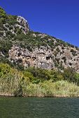 stock photo of dalyan  - The historic Kaunian rock tombs in Dalyan, Ortaca, TURKEY.