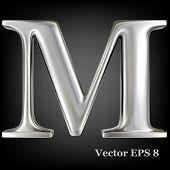 Metal alphabet vector symbol - M