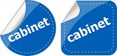 Cabinet Word Stickers Set, Web Icon Button