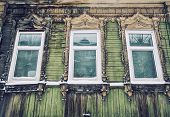 Detail of old wooden house in Tomsk