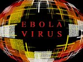 Abstract Multicolored Globe Shape On Black Background With Text.ebola Virus Epidemic Concept.