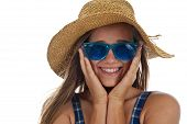 Cute Teen Girl In Blue Sunglasses