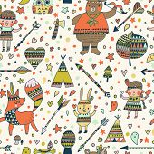 Beautiful indian seamless pattern in vector. Cute cartoon background in bright colors