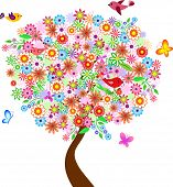 Summer Flower Tree, Flower Tree Vector