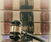 Law legal concept image - gavel law book background