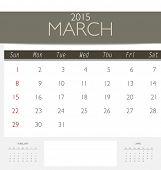2015 calendar, monthly calendar template for March. Vector illustration.