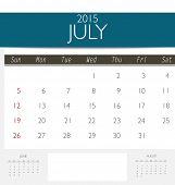 2015 calendar, monthly calendar template for July. Vector illustration.