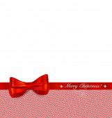 Christmas background with red ribbon and bow. Vector illustration.