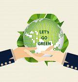 Green Eco Earth, Hand holding Green earth. Vector Illustration.