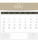 2015 calendar, monthly calendar template for May. Vector illustration.