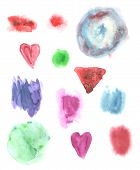 Abstract Watercolor Art Hand Paint Isolated On White Background Watercolor Stains.