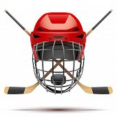 pic of sticks  - Ice hockey symbol with helmet and puck and sticks - JPG