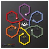 Fusion Rotate Hexagon And Arrows Line Business Infographic