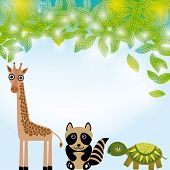 Giraffe,  Raccoon And  Turtle Funny Cartoon Animals Character. Summer Background With Green Leaves.