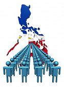 Lines of people with Philippines map flag illustration