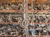 chain and hook in garage : selective focus