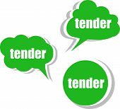Tender Word On Modern Banner Design Template. Set Of Stickers, Labels, Tags, Clouds