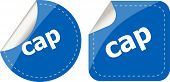 Cap Word Stickers Set, Web Icon Button