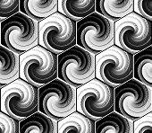 picture of uncolored  - Design seamless monochrome hexagon geometric pattern - JPG